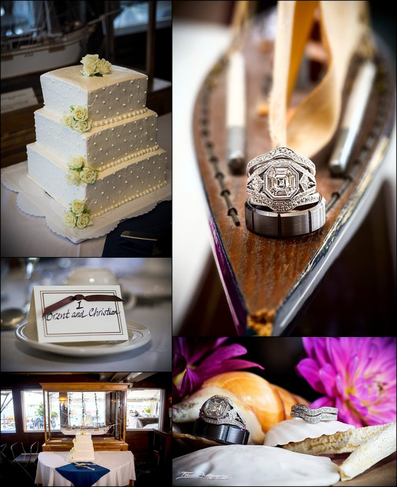 cake and rings  at DiMillos floating restaurant wedding in Portland, Maine