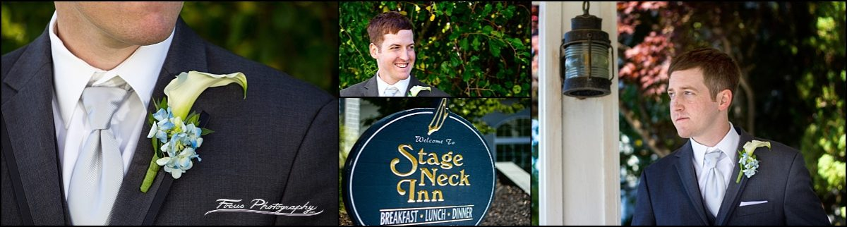 Groom photos at Stage Neck Inn wedding in York Maine