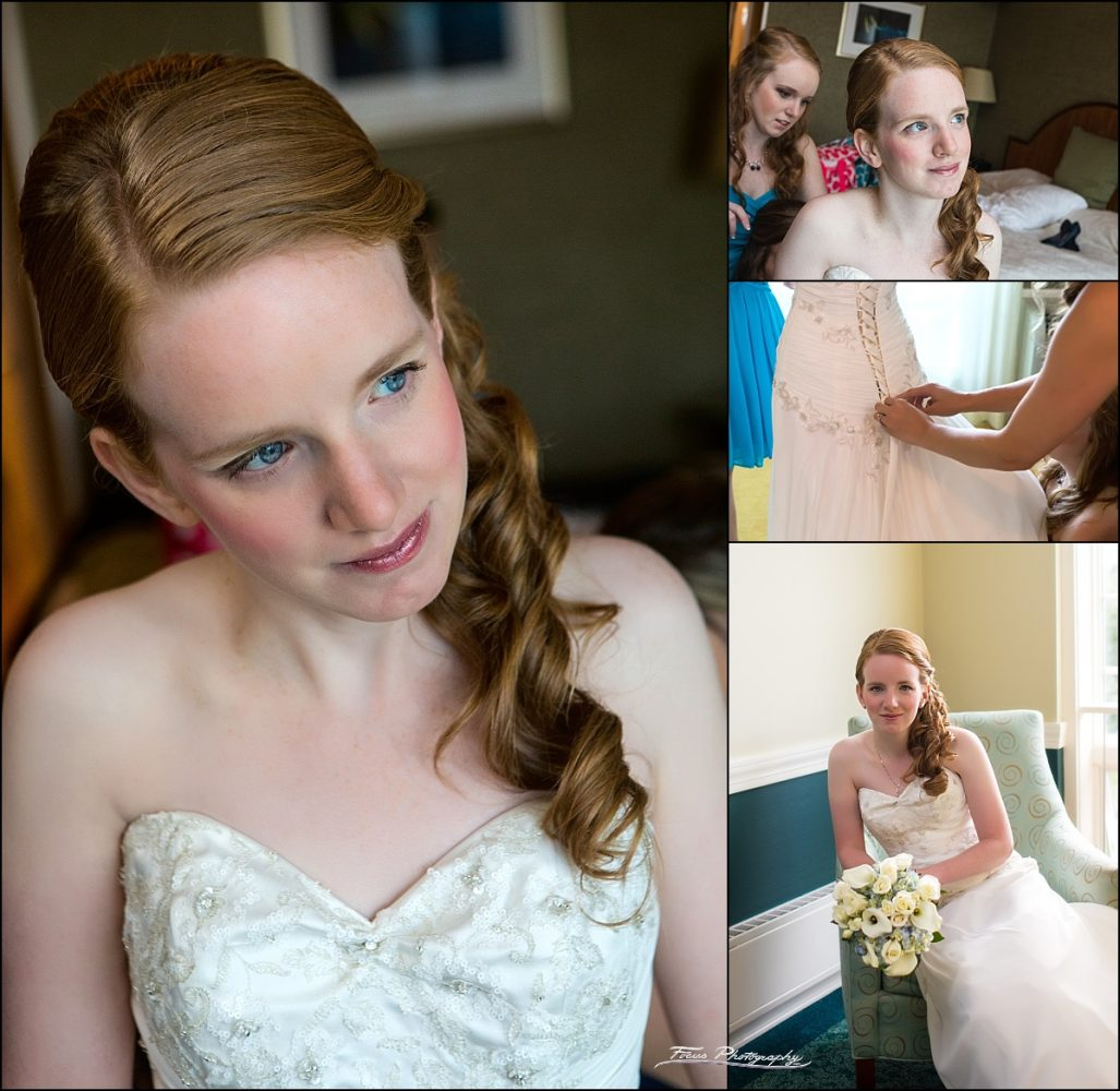 bride pre-ceremony pictures at Stage Neck Inn wedding in York Maine