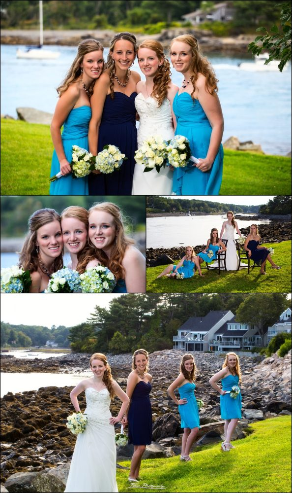 bride and bridesmaids at Stage Neck Inn wedding in York Maine