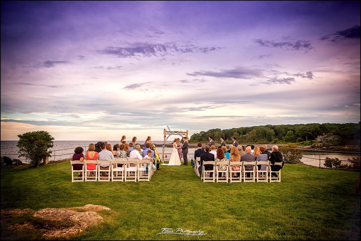 wedding ceremony overlooking ocean  at Stage Neck Inn in York Maine
