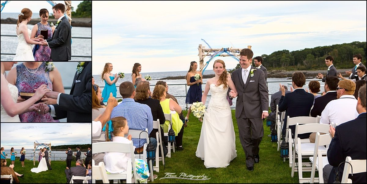 couple walks down aisle at Stage Neck Inn wedding