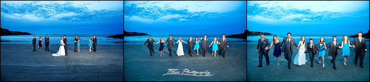 bridal party on beach at Stage Neck Inn wedding in York Maine