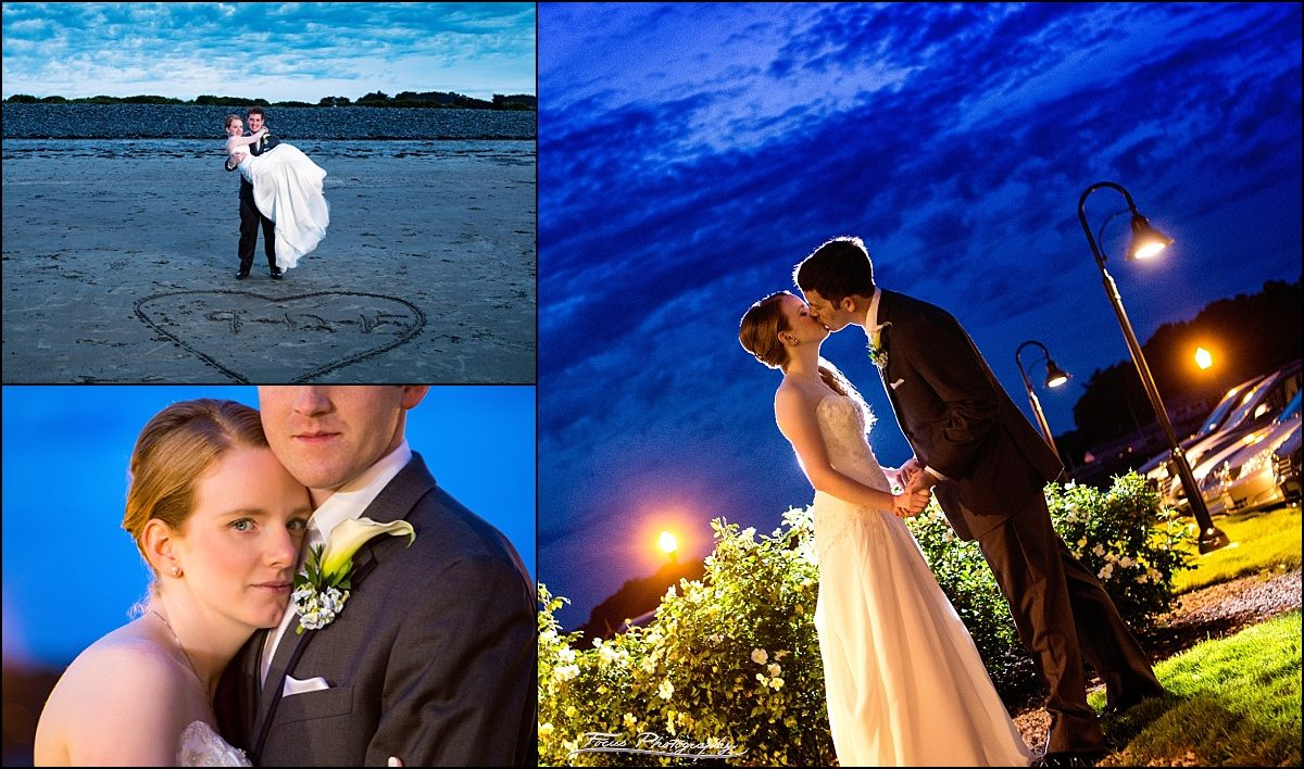 sunset photos of bride and groom at Stage Neck Inn wedding by York, Maine wedding photographers Focus Photography