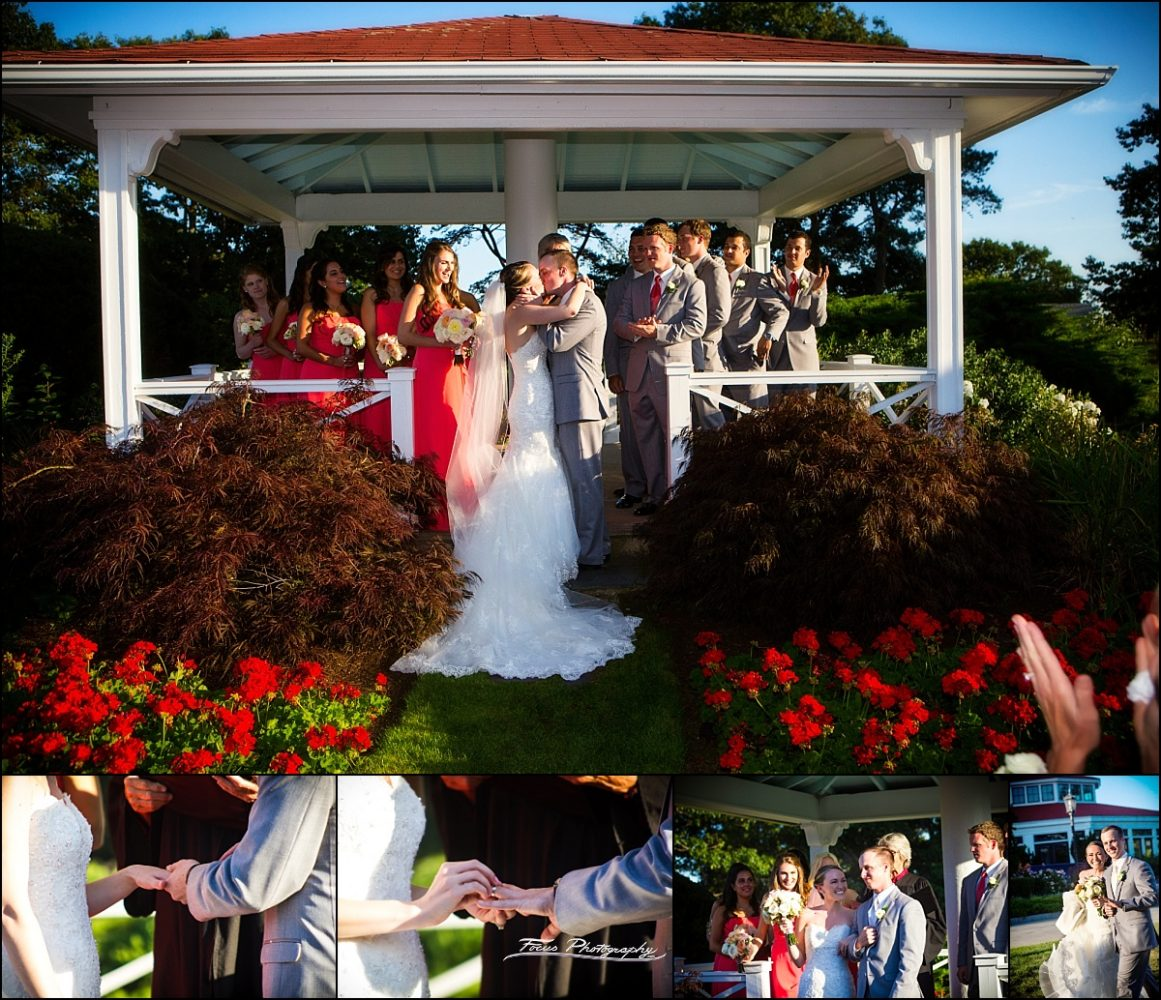 bride and groom kiss at Wentworth by the Sea wedding in New Castle, NH