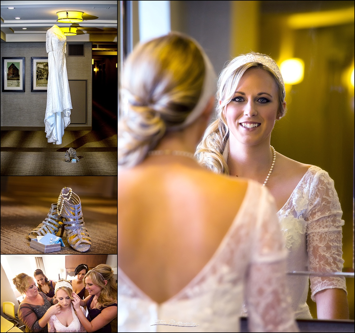 bride gets ready at Westin Portland Harborside before wedding