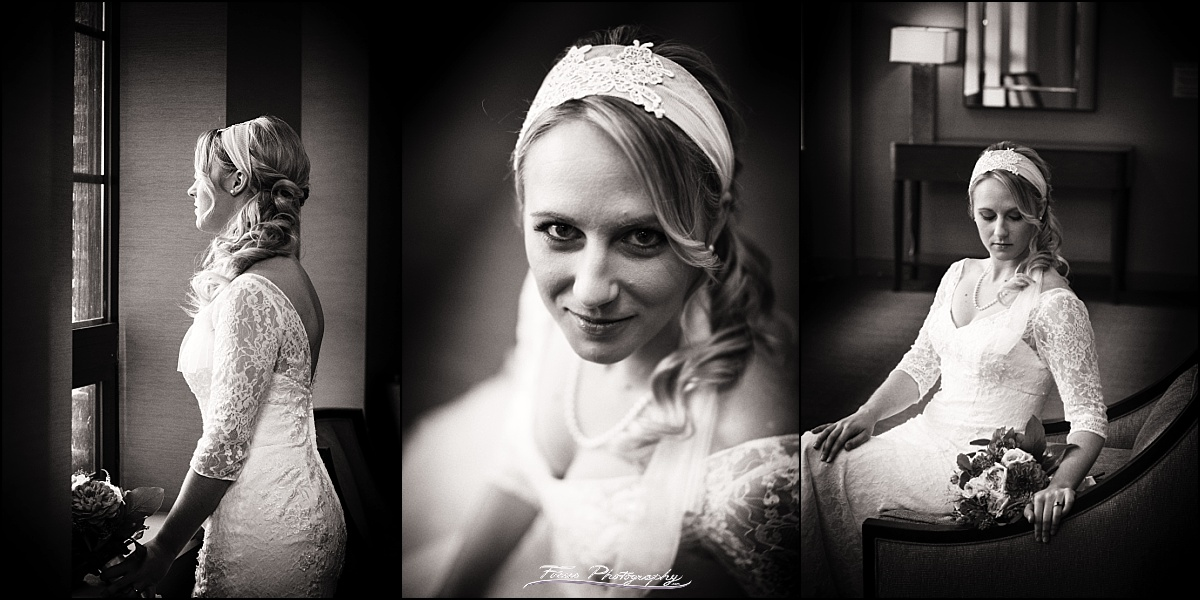 black and white portraits of bride at Westin Portland Harborside