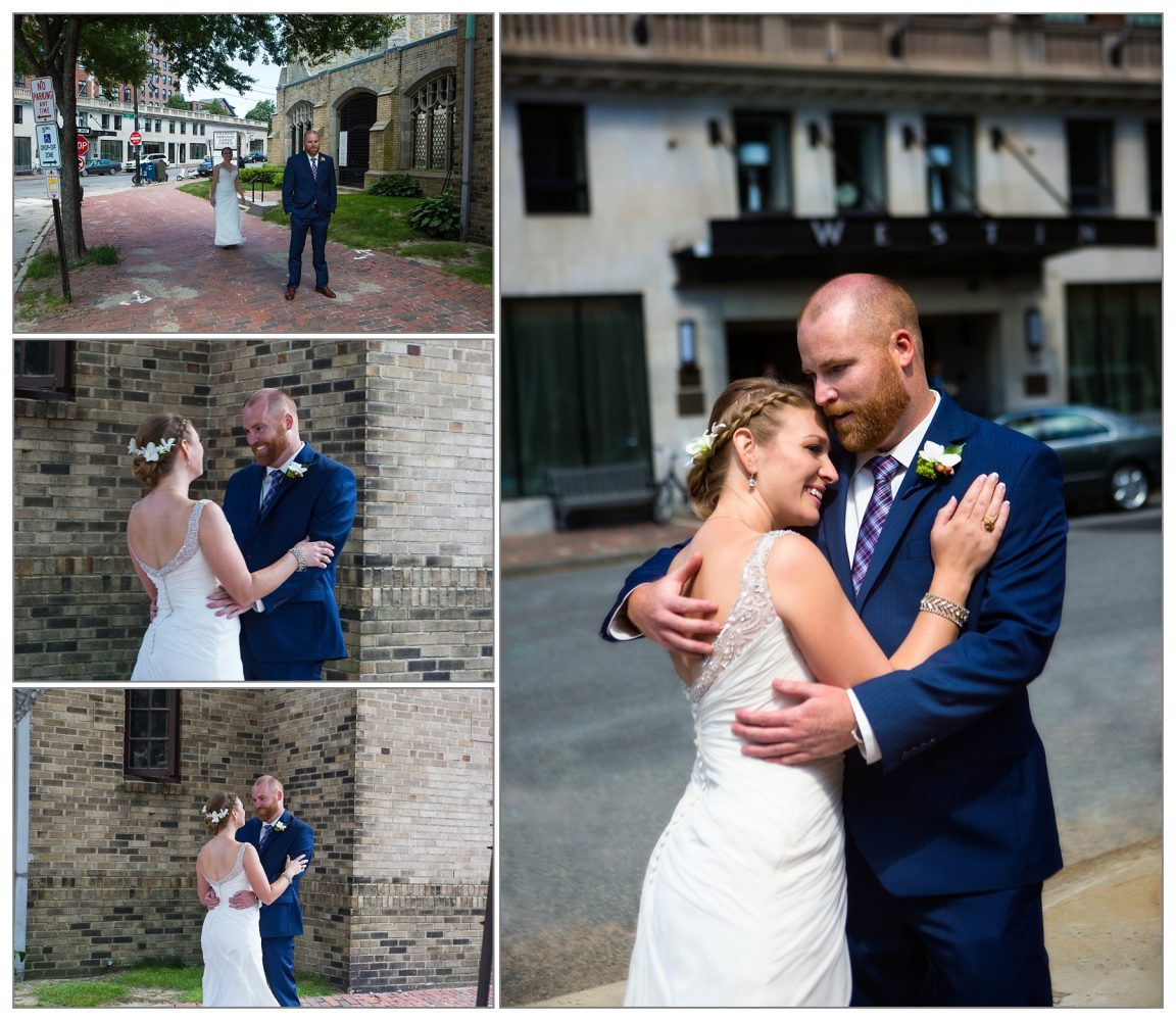 first look and wedding pictures - Westin portland, maine