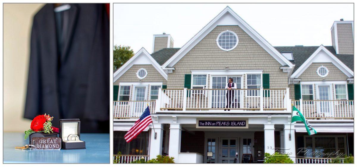 Groom stands on balcony at Inn on Peaks wedding