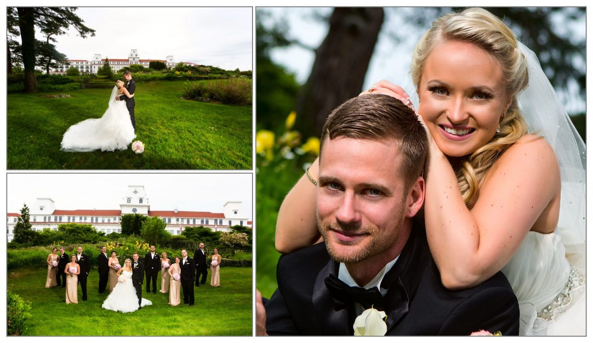 photos of bride and groom at Wentworth by the Sea hotel wedding