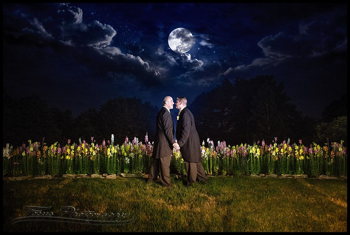 Romantic wedding photo at night at Wentworth by the sea