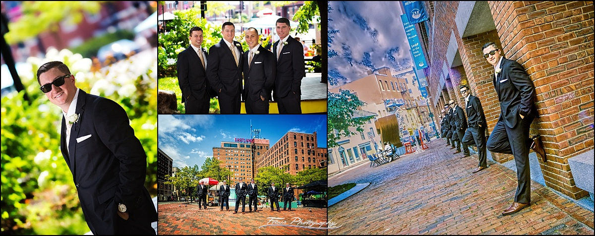 Groom and men at Westin Wedding, Portland Maine