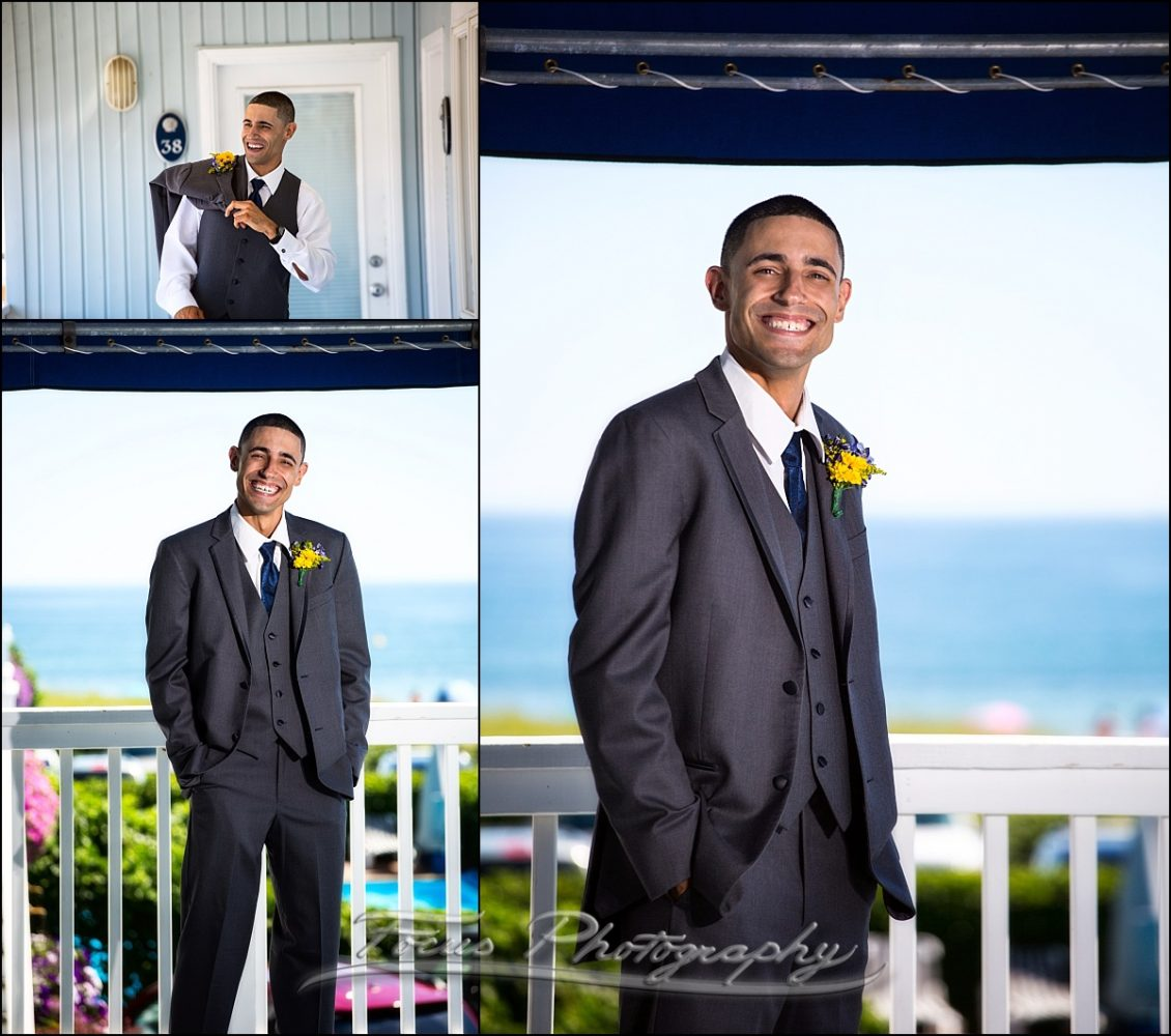 groom before Dunegrass wedding | Old Orchard Beach, Maine