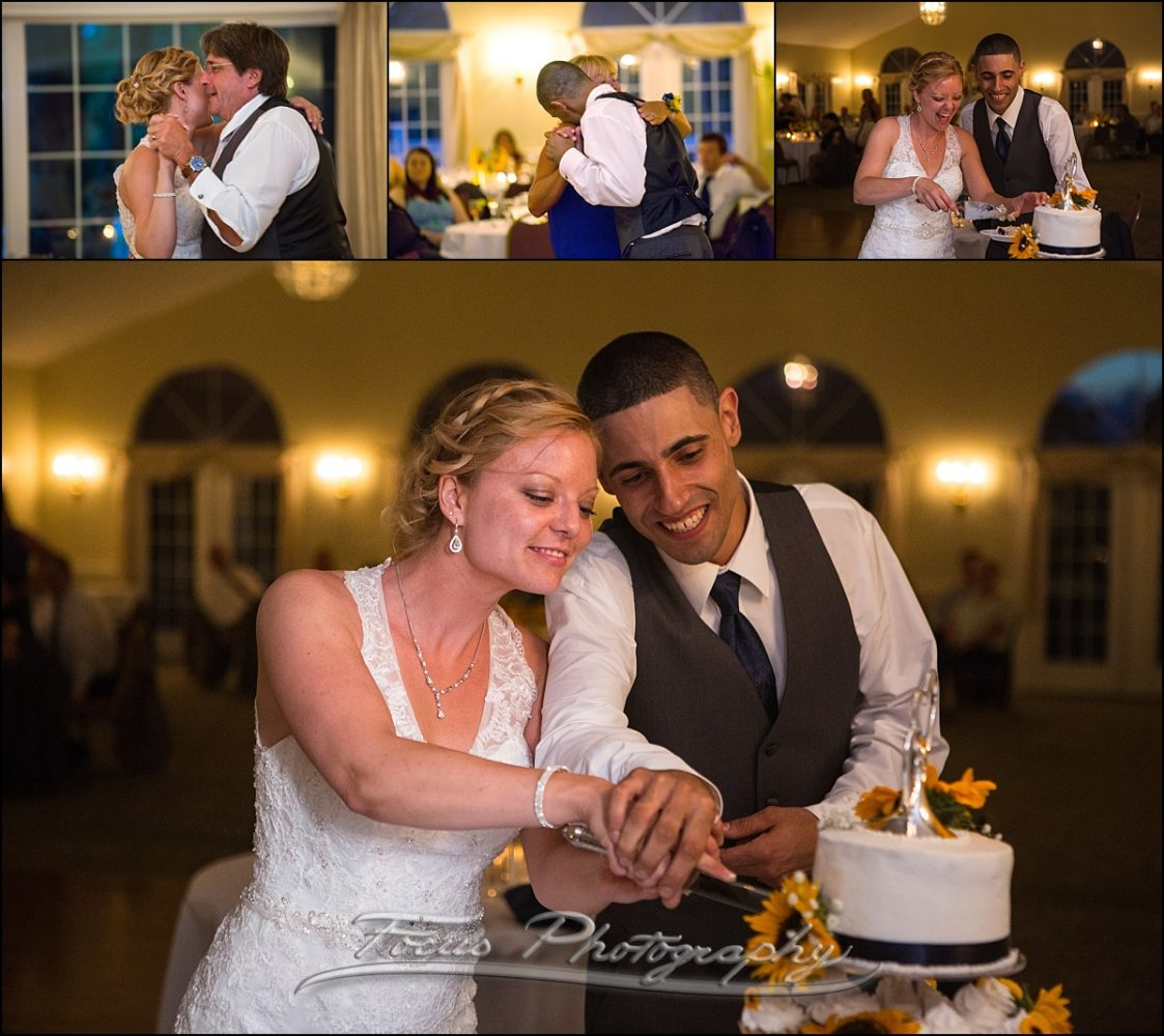 cake cutting at Dunegrass wedding | Old Orchard Beach, Maine