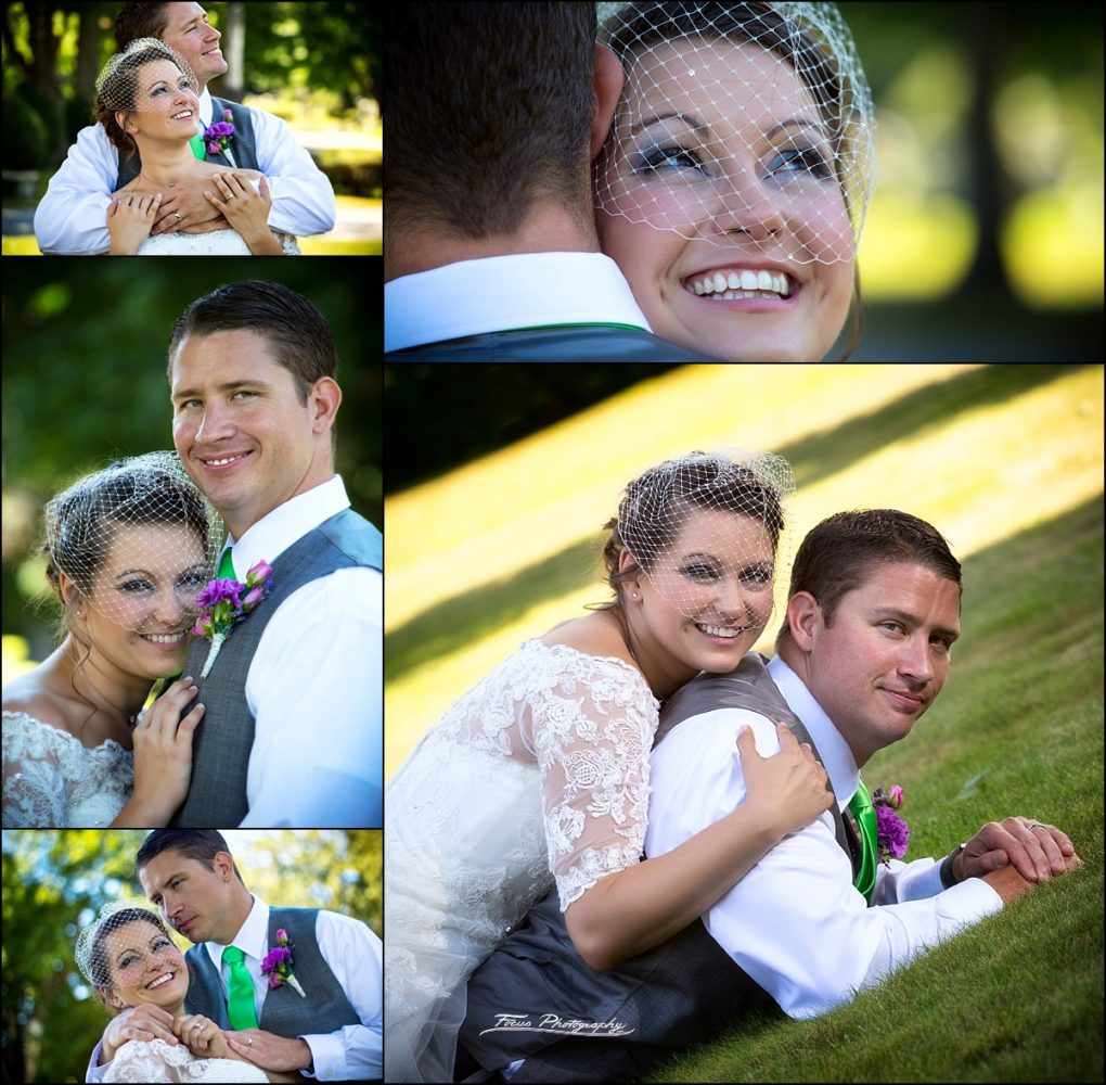 couples portraits of bride and groom  at Dunegrass Golf Club Wedding in Old Orchard Beach, Maine