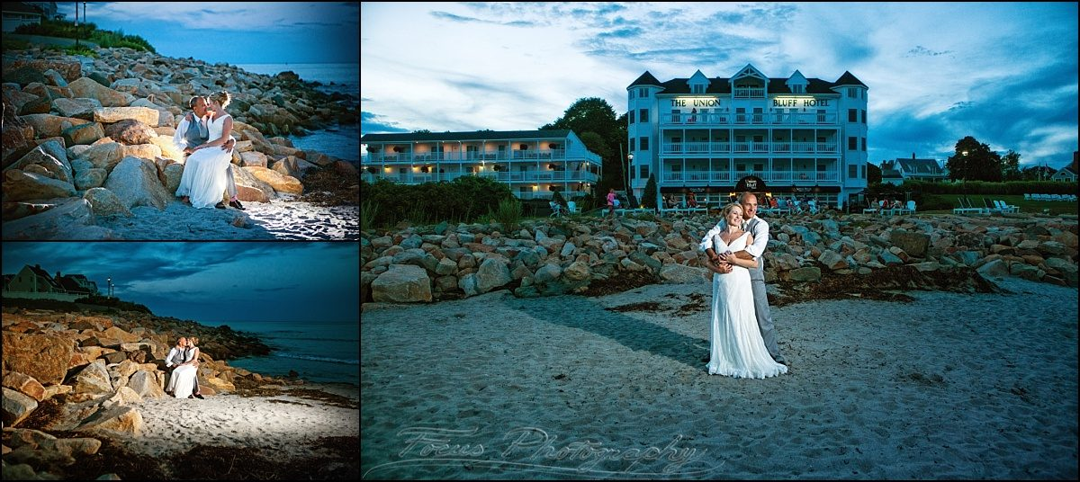 bride and groom at beach at union bluff wedding