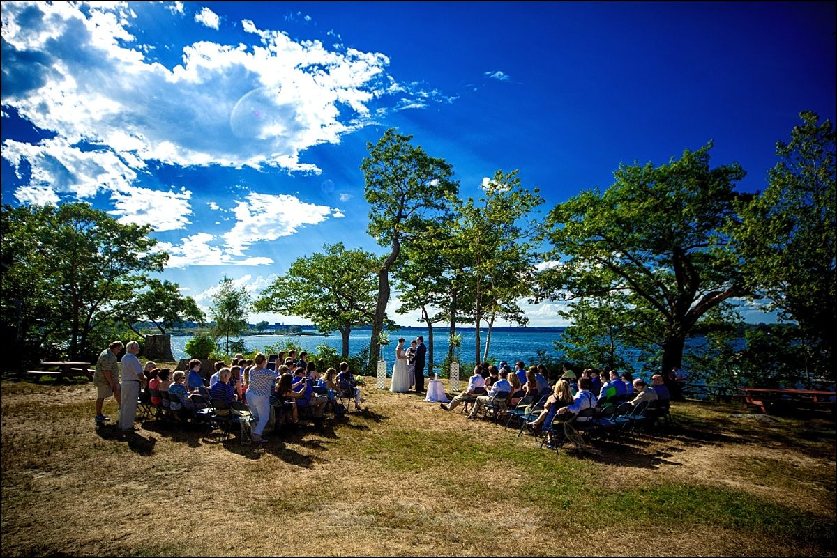 portland, maine | Peaks Island wedding ceremony Lions' club lawn