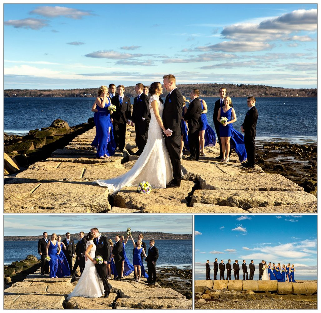 bridal party at breakwater from Samoset Resort wedding in Rockport, Maine