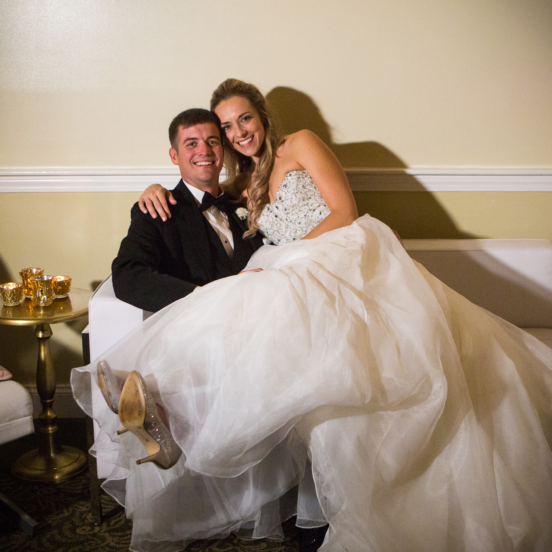 Taryn and Jim relax after wedding