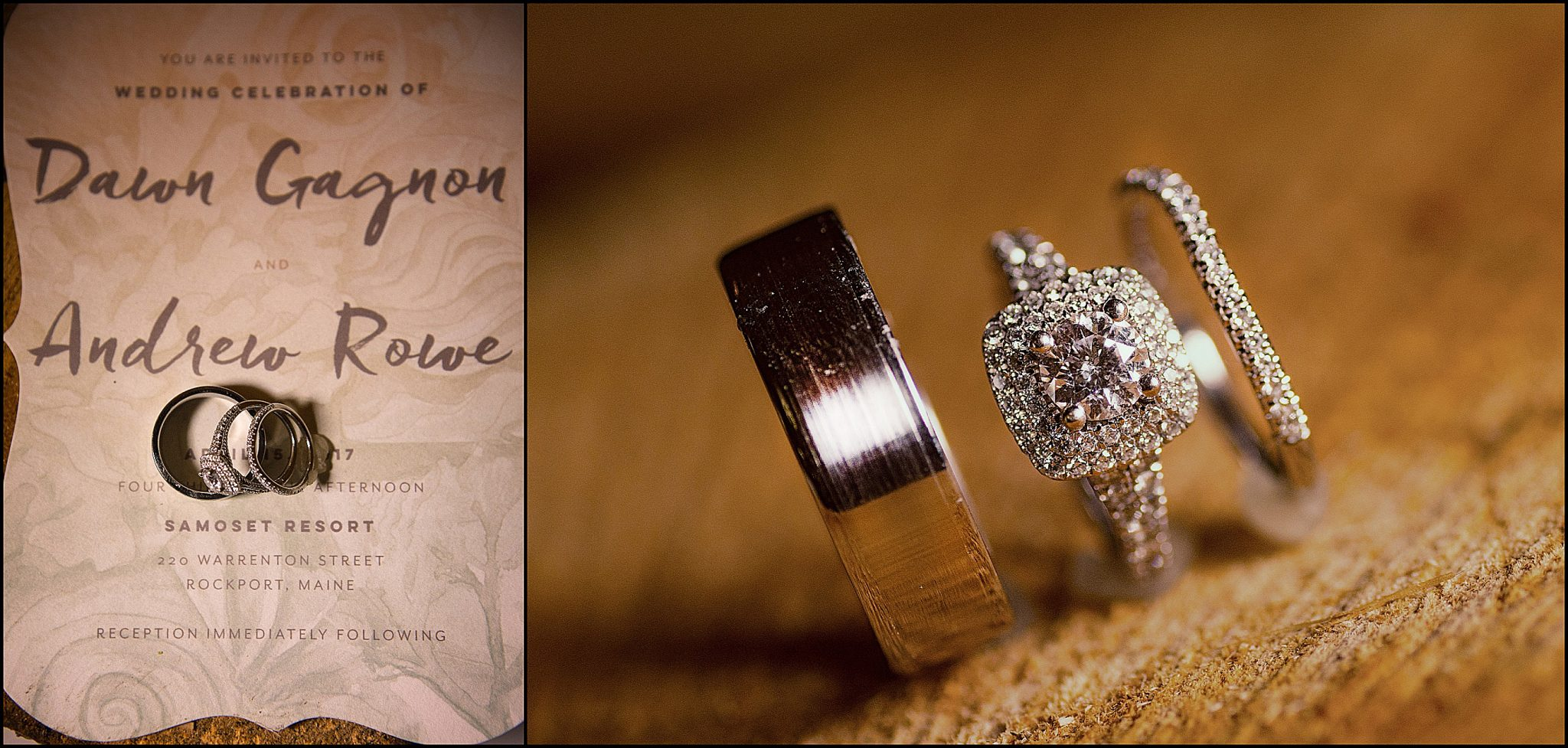 These macro shots of the wedding rings show off the beautiful designs
