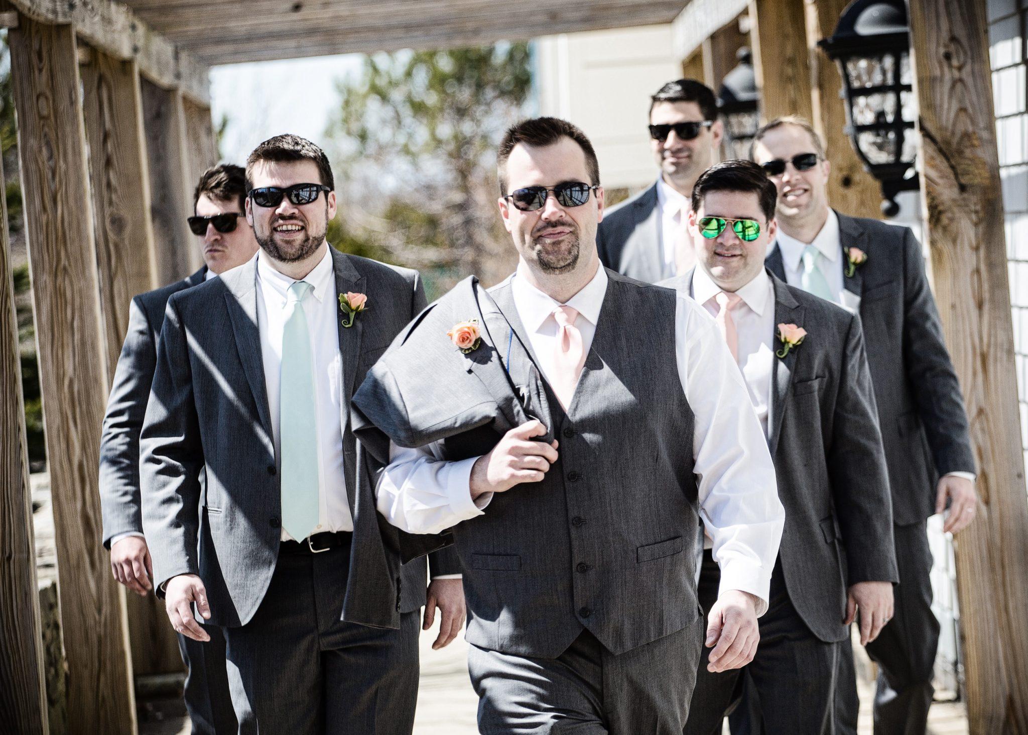 Groom and groomsmen at Samoset Resort wedding in Rockland, Maine