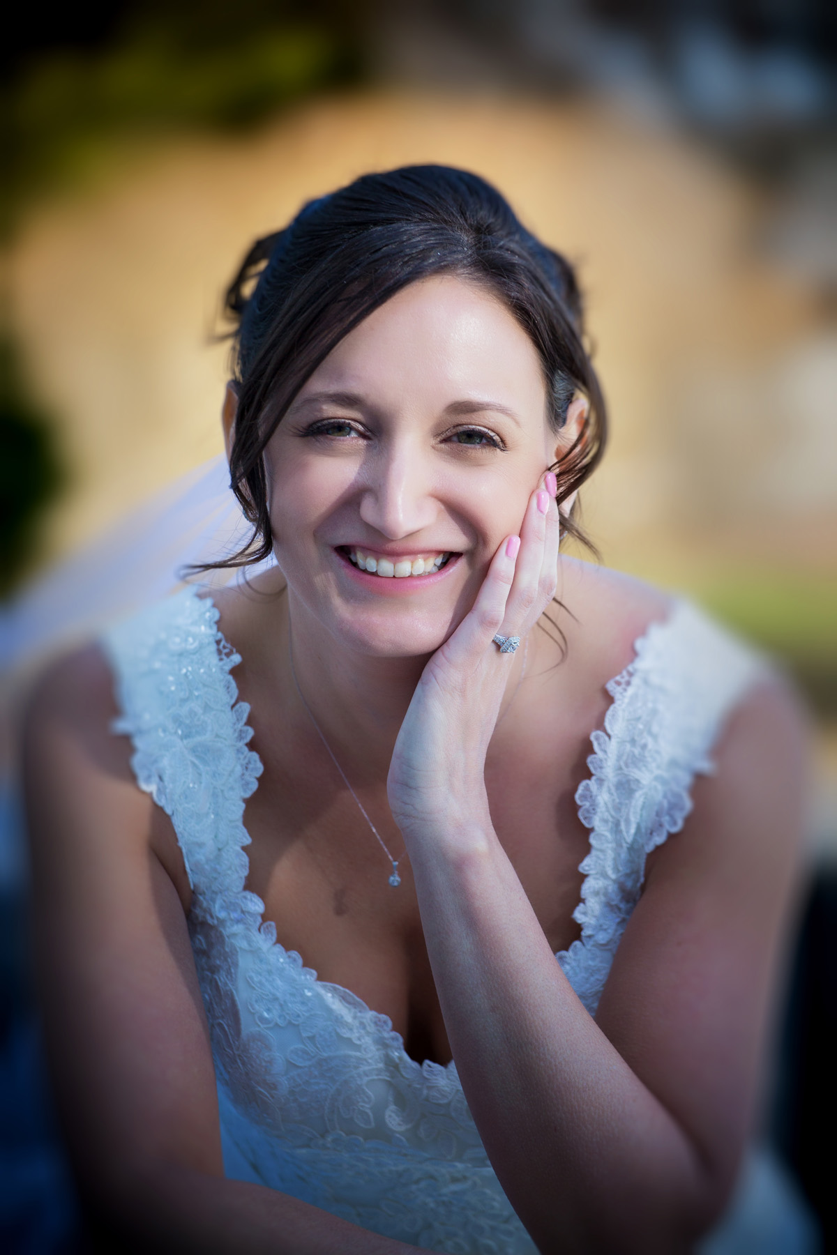 Wedding portrait of bride at Samoset Resort, Rockland, Maine.  Wedding photographers Will and Lucia of Focus Photography
