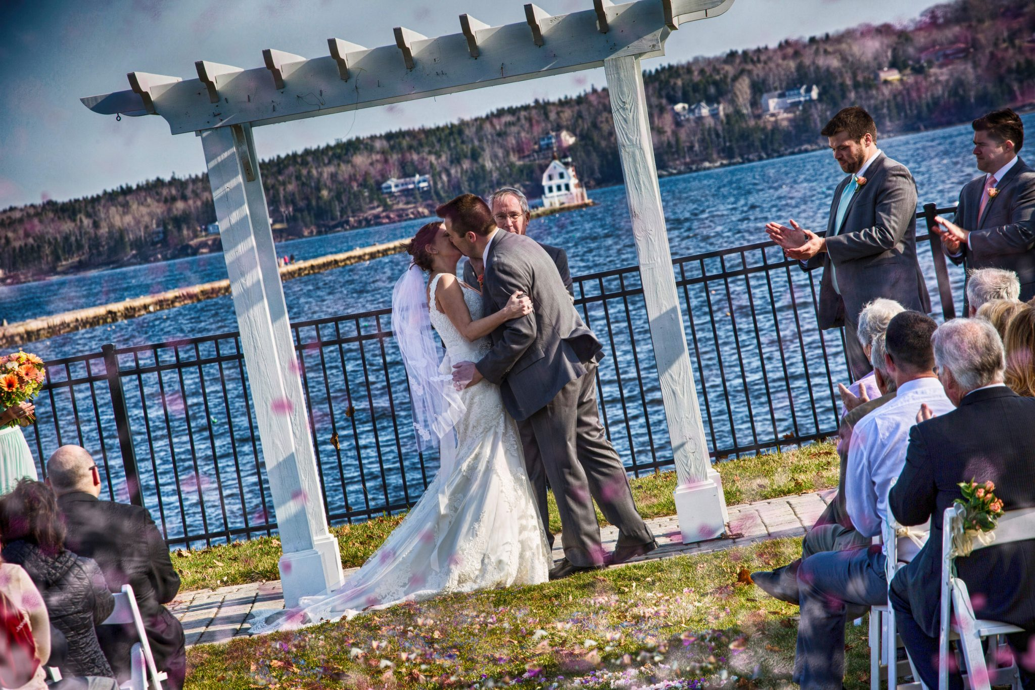Samoset Resort, Rockland, Maine.  The first kiss at the wedding.