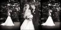 Black and white wedding pictures of bride and groom at Dunegrass golf club old orchard beach, Maine.