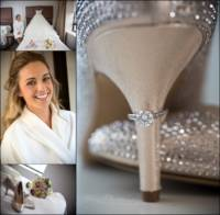 collage of bridal portraits at Westin hotel in Portland for Maine wedding photographers