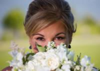 wedding portrait of bride and her bouquet