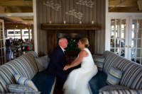 Bride and groom in lounge at Rira wedding.
