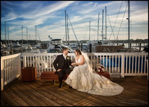 bride and groom at Wentworth by the sea marina