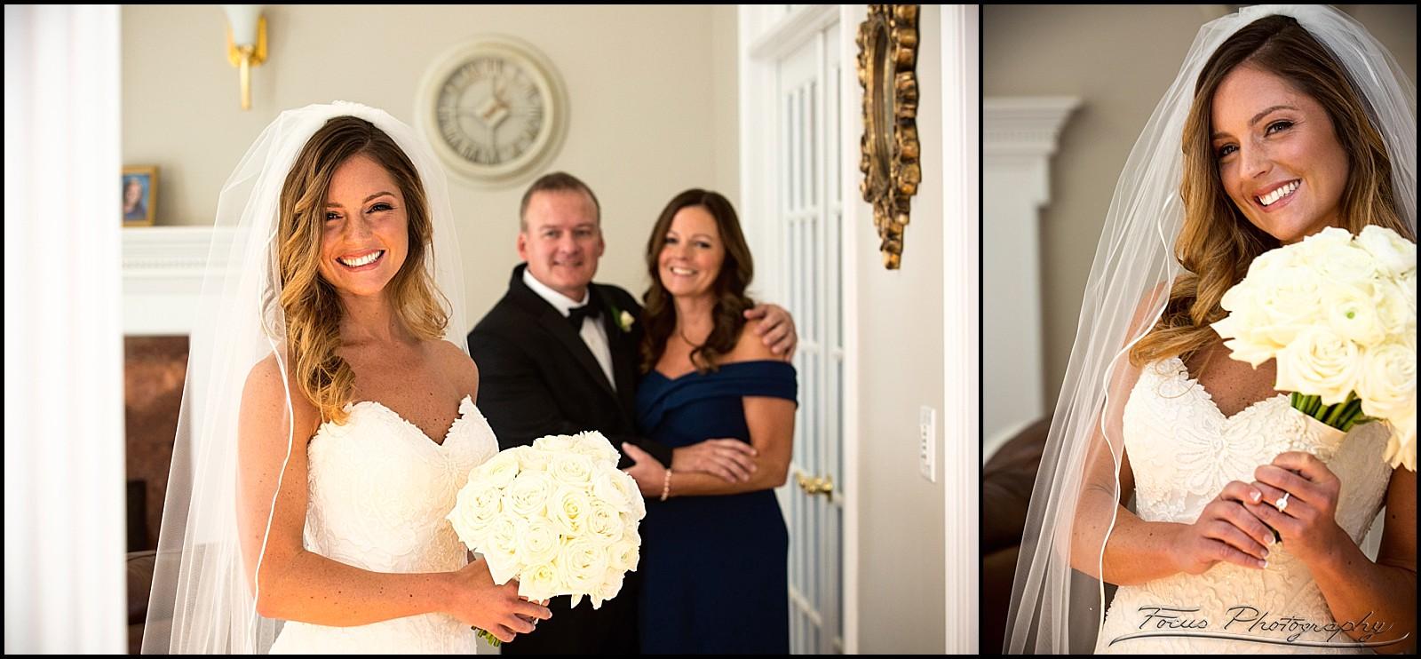 bride with parents