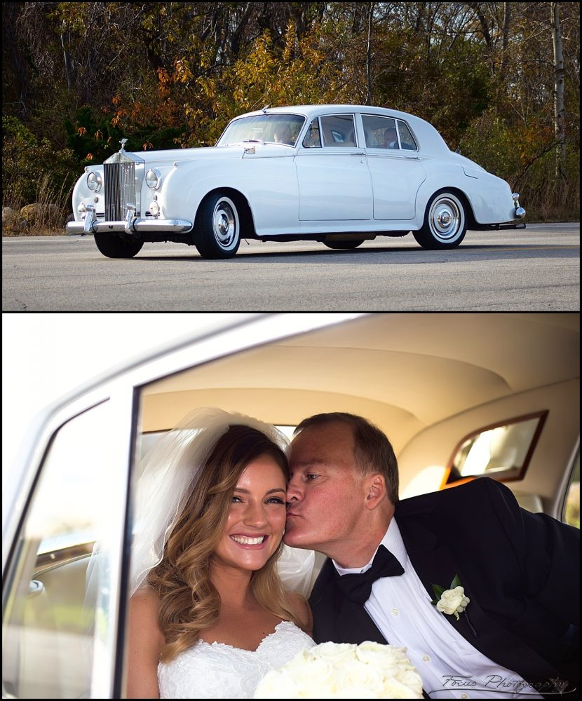 The bride arrives in a classic Rolls Royce