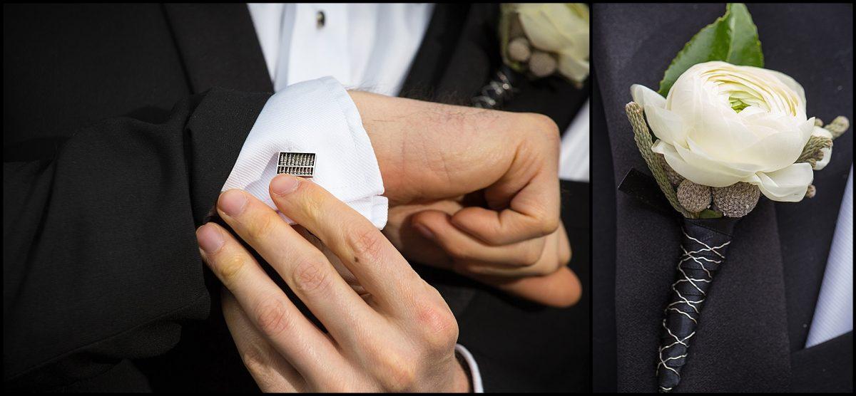 detail of groom's cufflinks