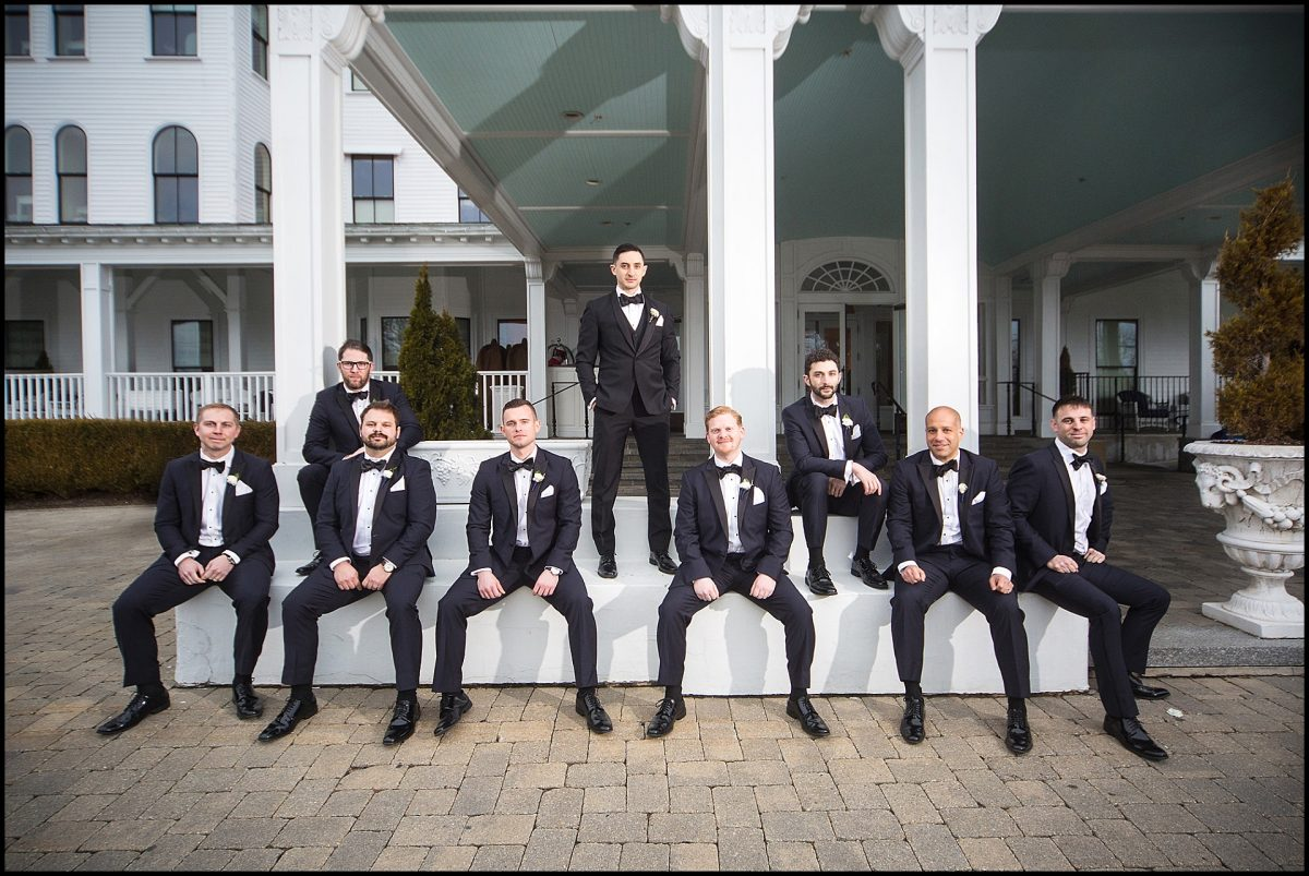 groomsmen out front of wentworth hotel