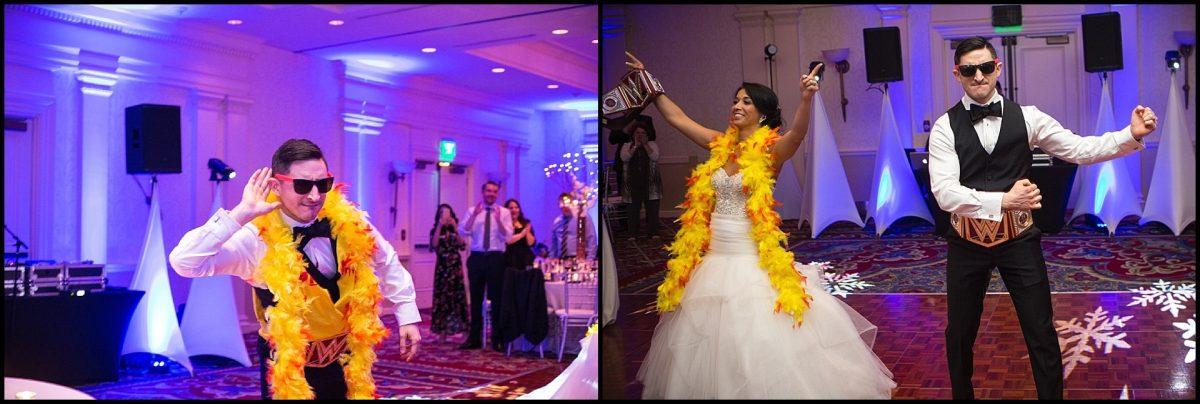 couple enters ballroom