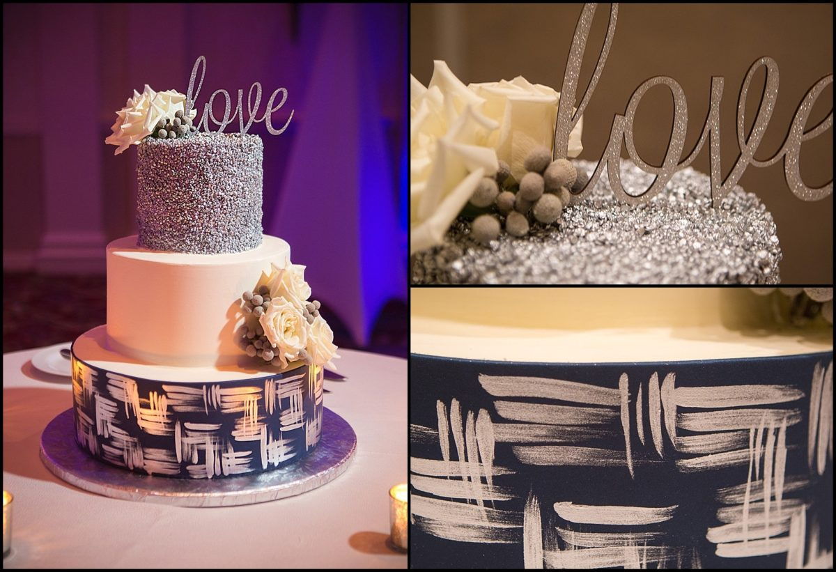 wedding cake - blue and white with sparkles on top