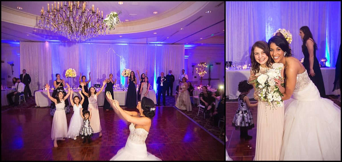 bouquet toss at wentworth wedding