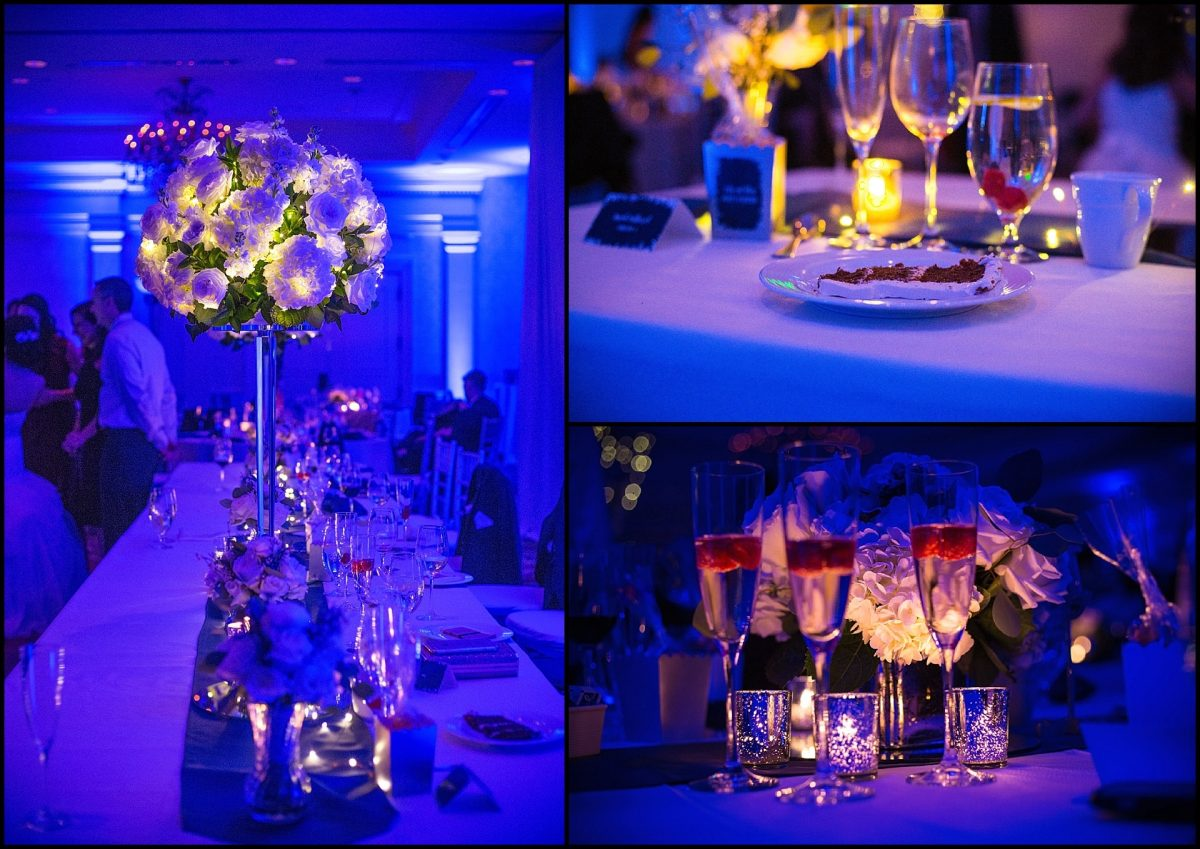 glowing flower arrangements on head table