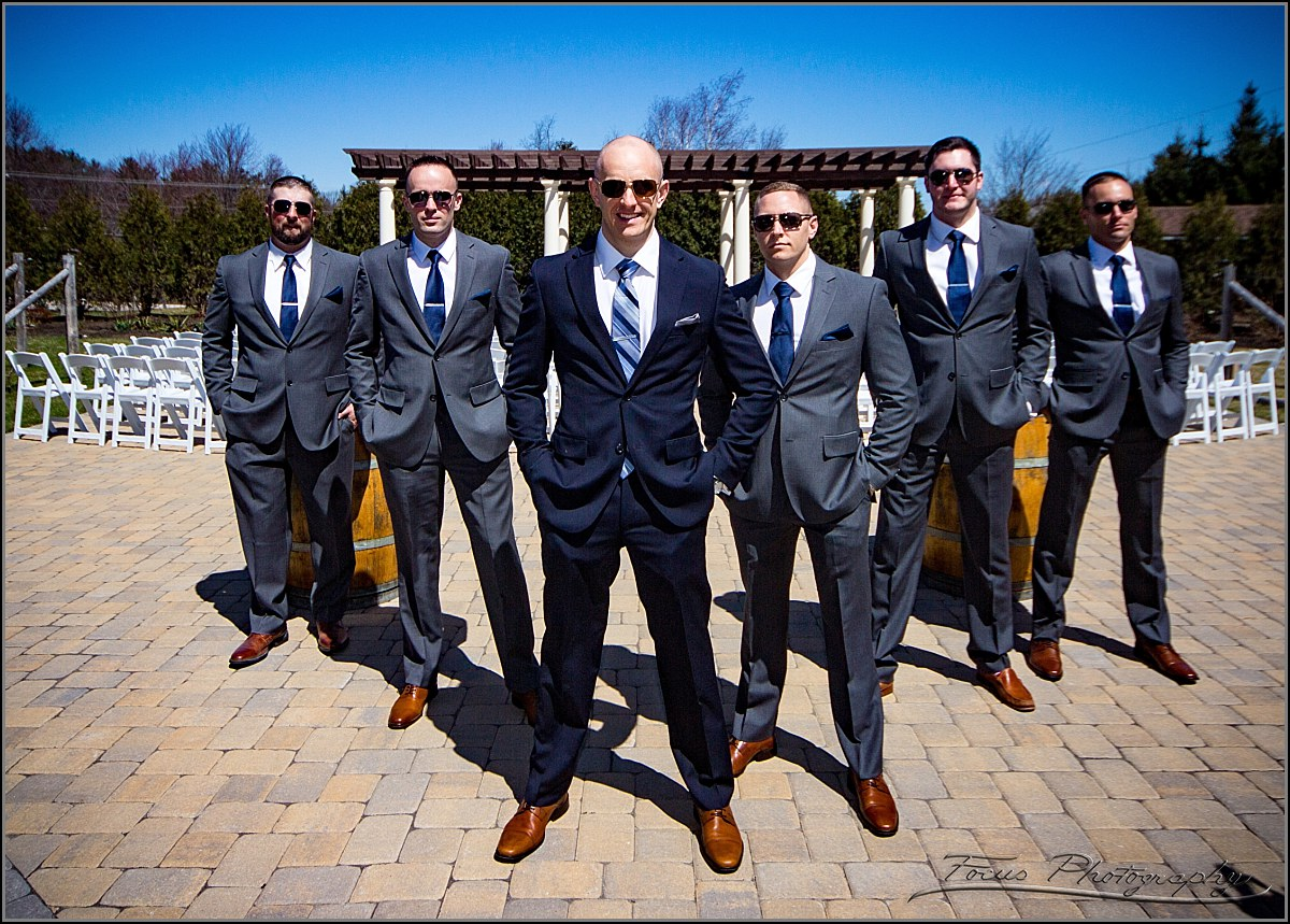 Groomsmen pose at Birch Wood