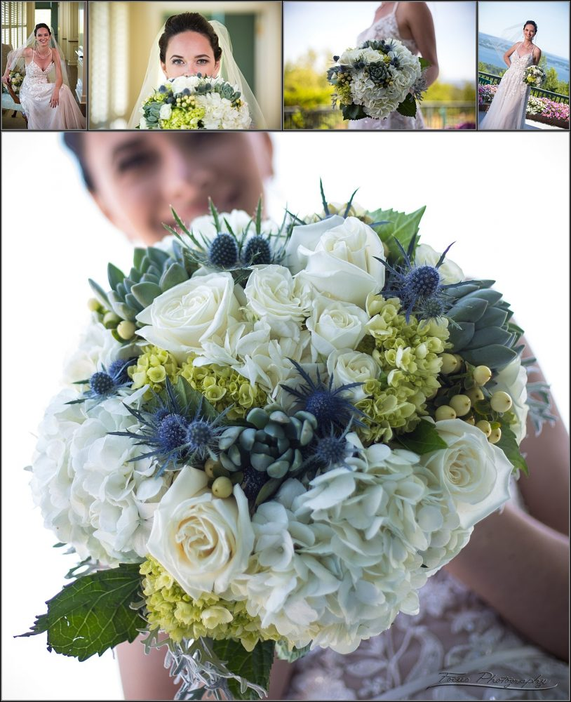 bride with flowers from Seasons DownEast