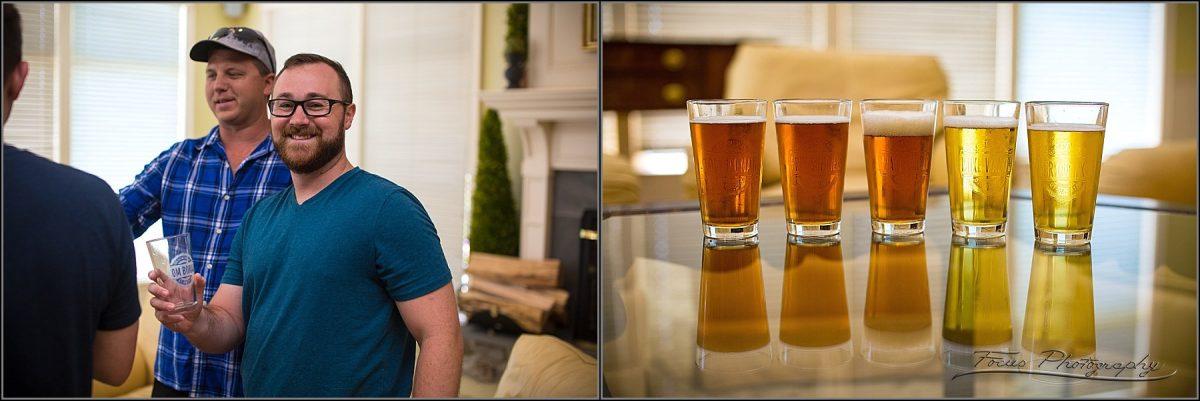 groomsmen with beer glasses
