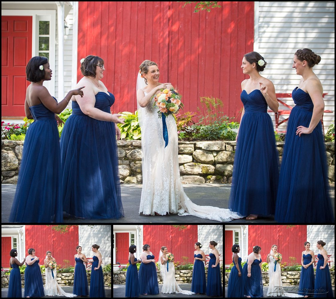 bridesmaids laughing before ceremony