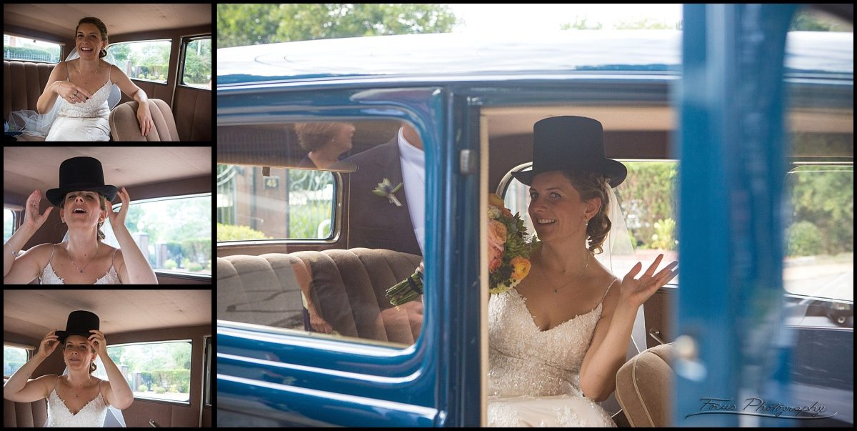 bride and top hat in ford model b