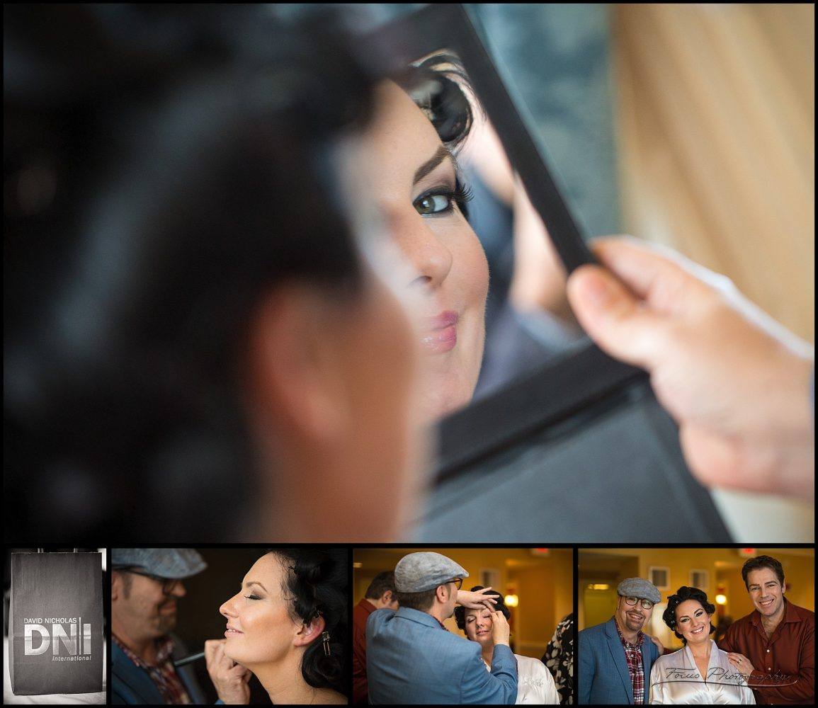 Bride getting ready looks in mu mirror