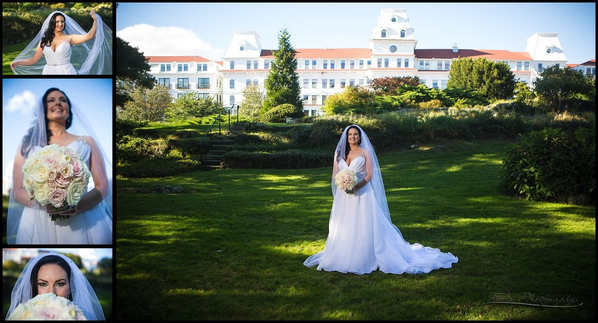 bride at back lawn