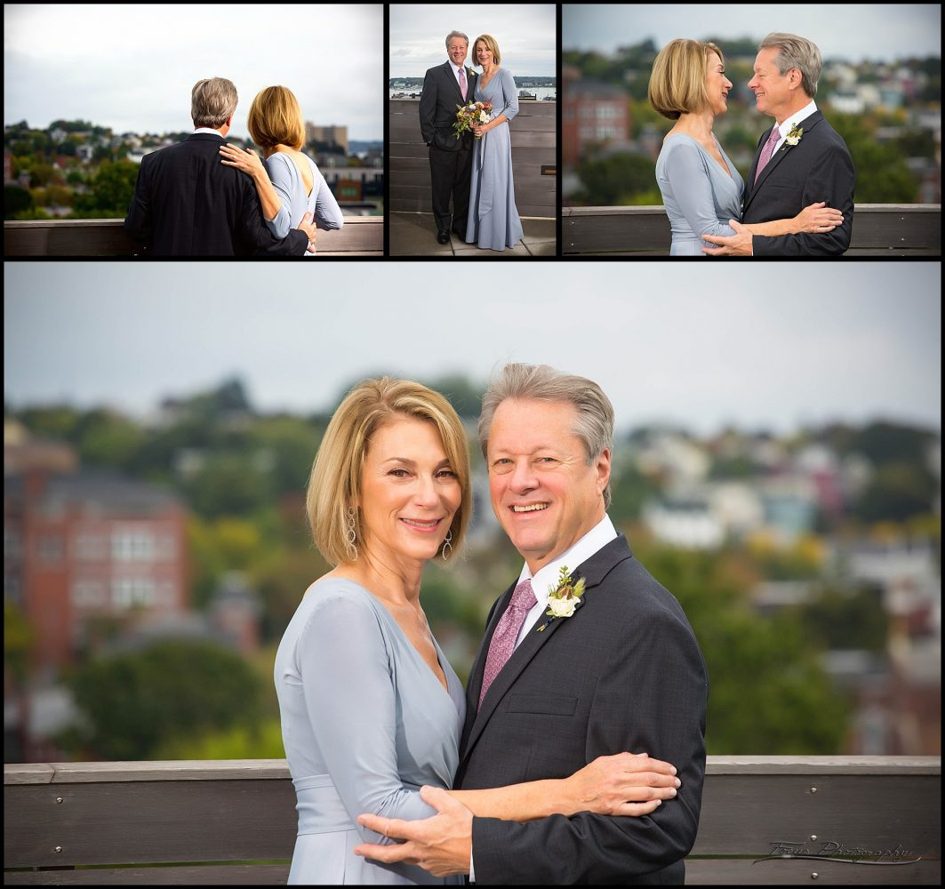 couple's pictures on roof of Press Hotel in Portland, ME