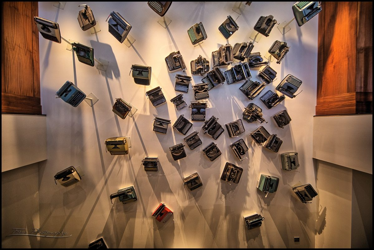 Art display of typewriters at Press Hotel