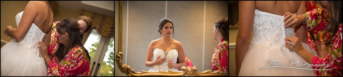 Sam & Steve's Wentworth Wedding - bride getting dressed